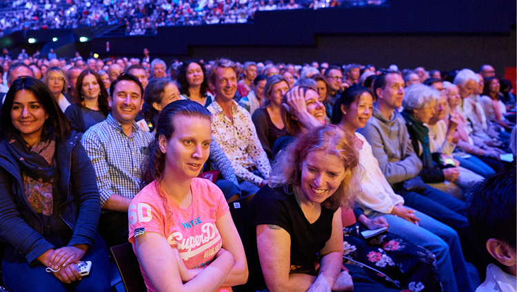 Members of the audience listening to His Holiness the Dalai Lama during his teaching at the Ahoy Arena in Rotterdam, the Netherlands on September 17, 2018. Photo by Olivier Adam