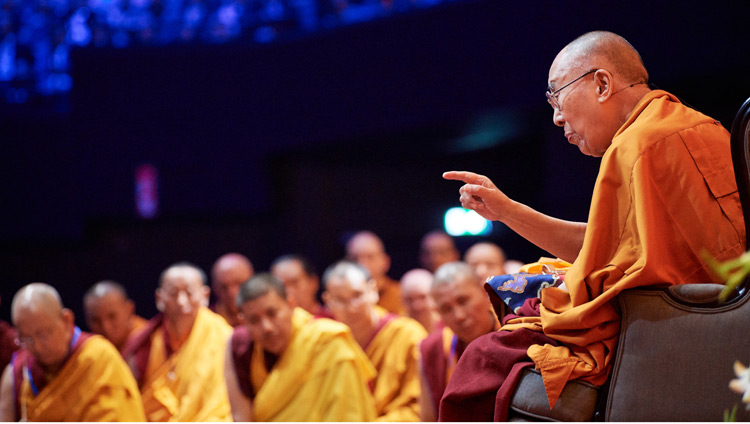 His Holiness the Dalai Lama during his teaching at the Ahoy Arena in Rotterdam, the Netherlands on September 17, 2018. Photo by Olivier Adam