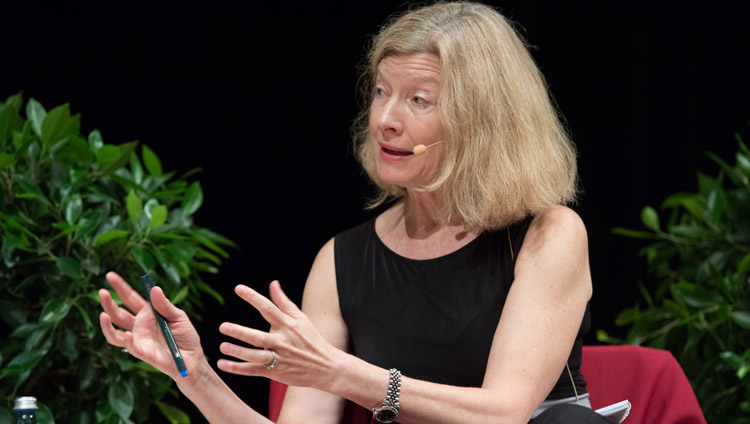 Neurobiologist Dr Hannah Monyer during the dialogue on Happiness and Responsibility in Heidelberg, Germany on September 20, 2018. Photo by Manuel Bauer
