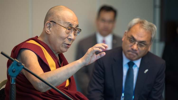 His Holiness the Dalai Lama speaking to members of the media at his hotel in Zurich, Switzerland on September 21, 2018. Photo by Manuel Bauer