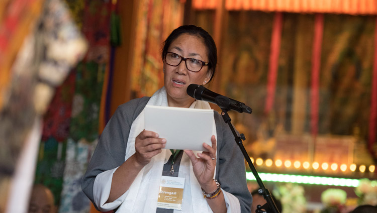 Dr Karma Dolma Lobsang, President of the Tibetan Institute Rikon (TIR) speaking at the ceremony commemorating the Institute's 50th anniversary in Rikon, Switzerland on September 21, 2018. Photo by Manuel Bauer