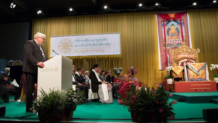 Mayor of Winterthur, Michael Kunzle, speaking at Tibet Institute Rikon's 50th Anniversary Celebration in Winterthur, Switzerland on September 22, 2018. Photo by Manuel Bauer