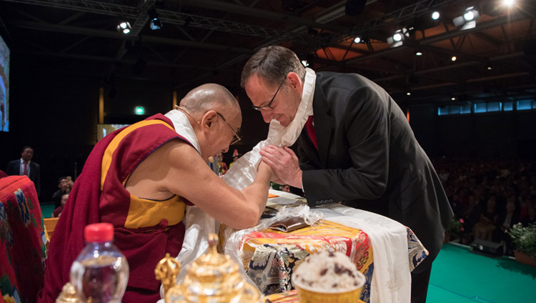 His Holiness the Dalai Lama thanking Mario Fehr, Member of the Council of the Canton of Zurich and a long time friend of Tibet for his speech at Tibet Institute Rikon's 50th Anniversary Celebration in Winterthur, Switzerland on September 22, 2018. Photo by Manuel Bauer