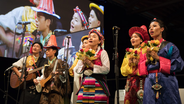 Artists wearing traditional dress from the three provinces of Tibet performing at Tibet Institute Rikon's 50th Anniversary Celebration in Winterthur, Switzerland on September 22, 2018. Photo by Manuel Bauer