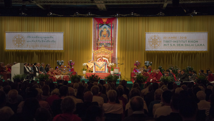 A view of the Eulachhalle arena as His Holiness the Dalai Lama addresses the audience during Tibet Institute Rikon's 50th Anniversary Celebration in Winterthur, Switzerland on September 22, 2018. Photo by Manuel Bauer