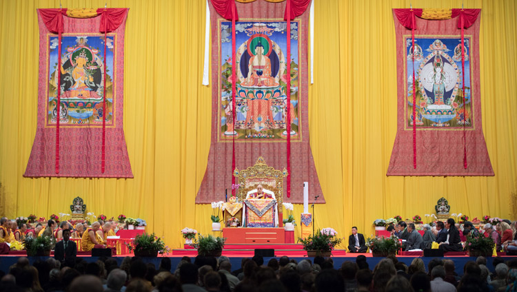 A view of the stage at the Zurich Hallenstadion during His Holiness the Dalai Lama's teaching in Zurich, Switzerland on September 23, 2018. Photo by Manuel Bauer