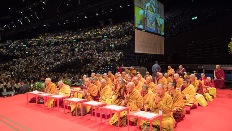 Senior members of the Tibetan monastic community sitting on stage at His Holiness the Dalai Lama's teaching at the Zurich Hallenstadion in Zurich, Switzerland on September 23, 2018. Photo by Manuel Bauer