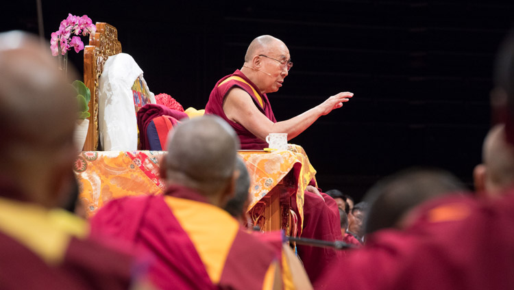 His Holiness the Dalai Lama addressing more than 6,000 Tibetans and Tibet supporters during their meeting at the Zurich Hallenstadion in Zurich, Switzerland on September 23, 2018. Photo by Manuel Bauer
