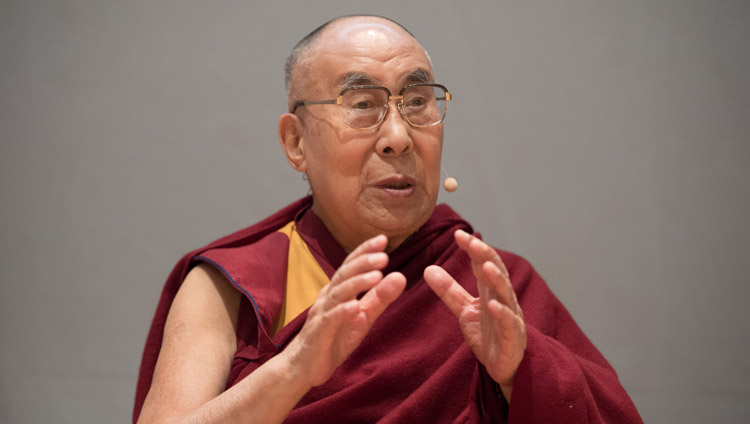 "His Holiness the Dalai Lama speaking at the symposium on ""Human Values and Education"" at the Zurich University of Applied Sciences in Winterthur, Switzerland on September 24, 2018. Photo by Manuel Bauer"