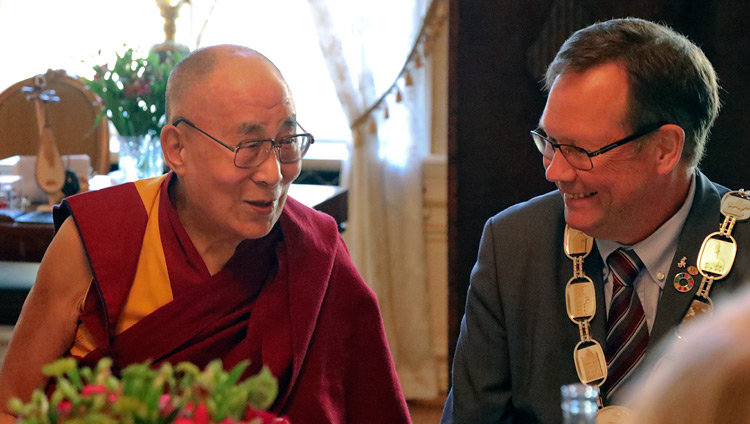 Lord Mayor of Malmö with His Holiness the Dalai Lama during a luncheon at Malmö City Hall in Malmö, Sweden on September 13, 2018. Photo by Jeremy Russell