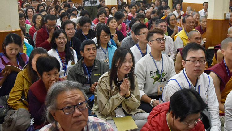 Members of the audience listening to His Holiness the Dalai Lama during the first day of his four day teaching at the Main Tibetan Temple in Dharamsala, HP, India on October 3, 2018. Photo by Tenzin Phende/DIIR