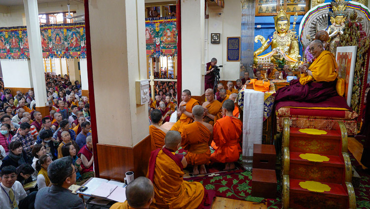Thai monks reciting the Mangala Sutta in Pali at the start of the third day of His Holiness the Dalai Lama's teachings at the Main Tibetan Temple in Dharamsala, HP, India on October 5, 2018. Photo by Ven Tenzin Jamphel