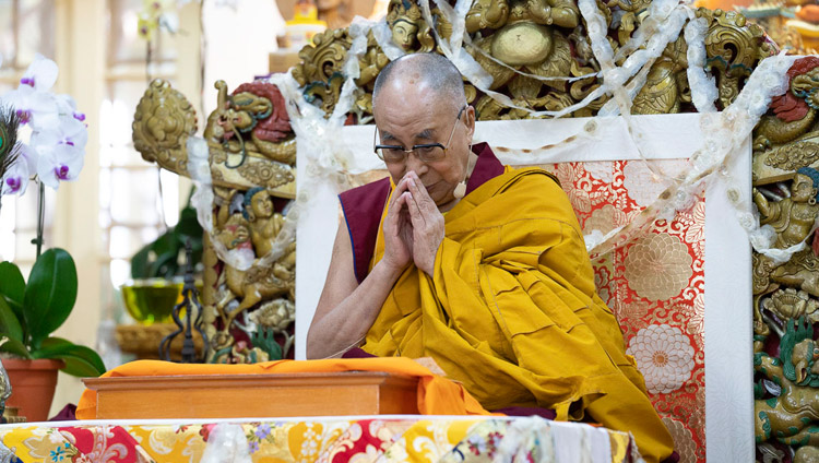His Holiness the Dalai Lama performing preparatory procedures for the permission of Avalokiteshvara Who Liberates from the Lower Realms on the final day of teachings at the Main Tibetan Temple in Dharamsala, HP, India on October 6, 2018. Photo by Ven Tenzin Jamphel