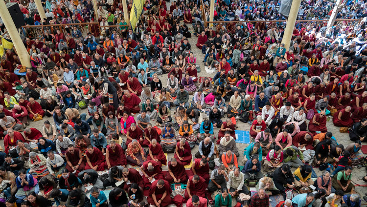 A view of the crowd sitting in the Main Tibetan Temple courtyard on the final day of His Holiness the Dalai Lama's teachings in Dharamsala, HP, India on October 6, 2018. Photo by Ven Tenzin Jamphel