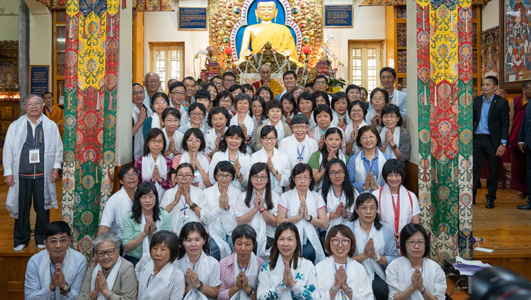 One of several group photos with the more than 1,000 Budhdists from Taiwan who attended His Holiness the Dalai Lama's teachings at the Main Tibetan Temple in Dharamsala, HP, India on October 6, 2018. Photo by Ven Tenzin Jamphel
