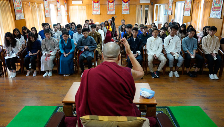 His Holiness the Dalai Lama addressing students from Woodstock School at the meeting room next to his office in Dharamsala, HP, India on October 11, 2018. Photo by Ven Tenzin Jamphel