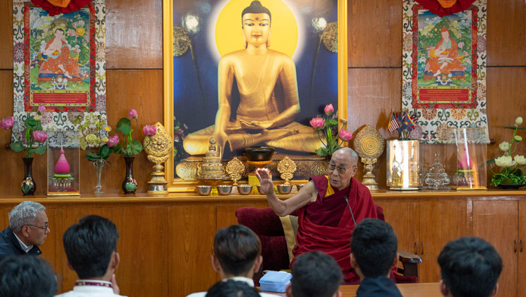 His Holiness the Dalai Lama answering a question from the audience during his conversation with students from Woodstock School at his residence in Dharamsala, HP, India on October 11, 2018. Photo by Ven Tenzin Jamphel