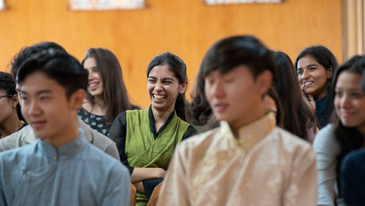 Members of the audience reacting with laughter to comments made by His Holiness the Dalai Lama during his conversation with students from Woodstock School at his residence in Dharamsala, HP, India on October 11, 2018. Photo by Ven Tenzin Jamphel