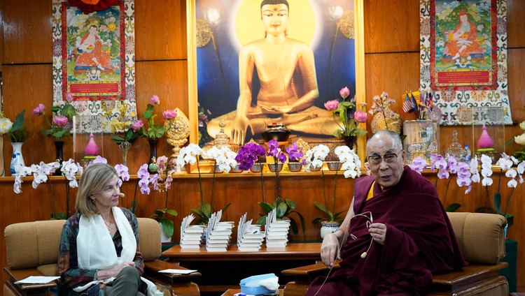 USIP President Nancy Lindborg looks on as His Holiness the Dalai Lama delivers his opening remarks during the discussion with youth leaders from conflict areas at his residence in Dharamsala, HP, India on October 25, 2018. Photo by Ven Tenzin Jamphel