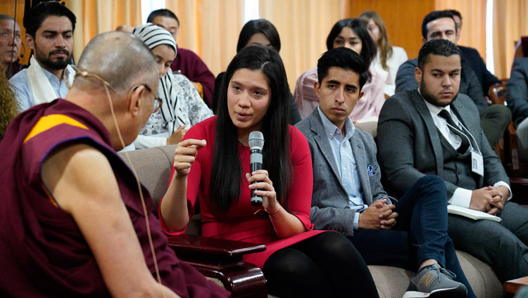 A youth leader asking His Holiness the Dalai Lama a question during their discussion at his residence in Dharamsala, HP, India on October 25, 2018. Photo by Ven Tenzin Jamphel