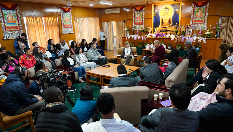 A view of the meeting room at His Holiness the Dalai Lama's residence during his meeting with youth leaders from conflict areas in Dharamsala, HP, India on October 25, 2018. Photo by Ven Tenzin Jamphel
