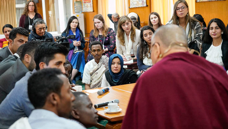 His Holiness the Dalai Lama talking with participants during a tea break in the discussion with youth leaders from conflict areas at his residence in Dharamsala, HP, India on October 25, 2018. Photo by Ven Tenzin Jamphel