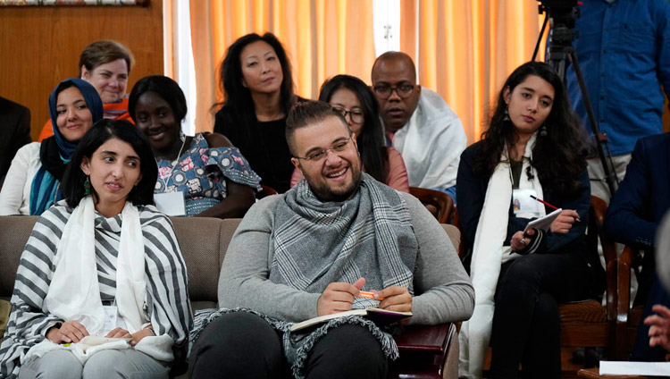 Participants reacting to His Holiness the Dalai Lama's comments during the discussion with youth leaders from conflict areas at his residence in Dharamsala, HP, India on October 25, 2018. Photo by Ven Tenzin Jamphel