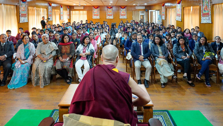His Holiness the Dalai Lama addressing 140 students and their teachers from Indian high schools at his residence in Dharamsala, HP, India on October 30, 2018. Photo by Ven Tenzin Jamphel