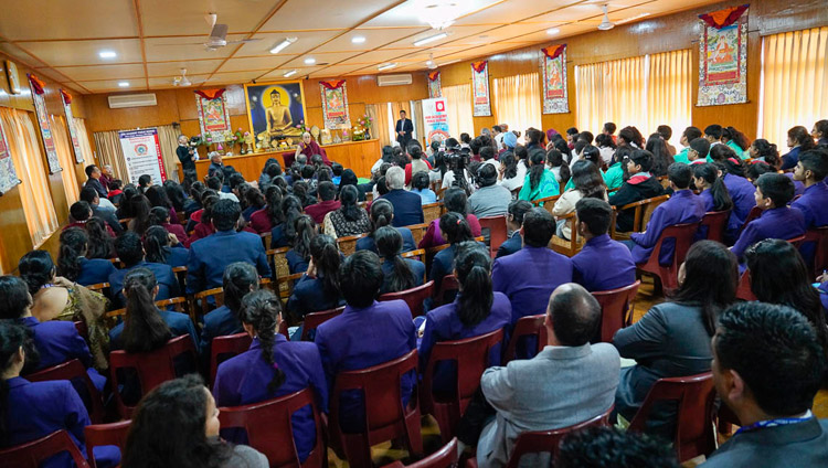 A view of the meeting room at His Holiness the Dalai Lama's residence during his meeting with Indian high school students and their teachers in Dharamsala, HP, India on October 30, 2018. Photo by Ven Tenzin Jamphel