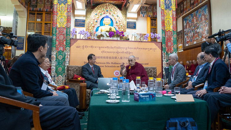 His Holiness the Dalai Lama opening the dialogue with Chinese scientists about quantum effects at the Main Tibetan Temple in Dharamsala, HP, India on November 1, 2018. Photo by Ven Tenzin Jamphel