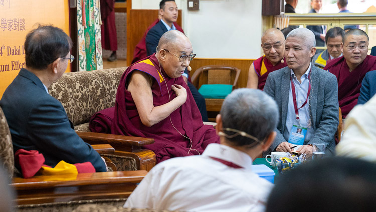His Holiness the Dalai Lama delivering his opening remarks at the start of the first day of the dialogue with Chinese scientists about quantum effects at the Main Tibetan Temple in Dharamsala, HP, India on November 1, 2018. Photo by Ven Tenzin Jamphel