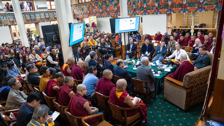 A view of inside the Main Tibetan Temple as His Holiness the Dalai Lama delivers his opening remarks on the first day of the dialogue with Chinese scientists about quantum effects in Dharamsala, HP, India on November 1, 2018. Photo by Ven Tenzin Jamphel
