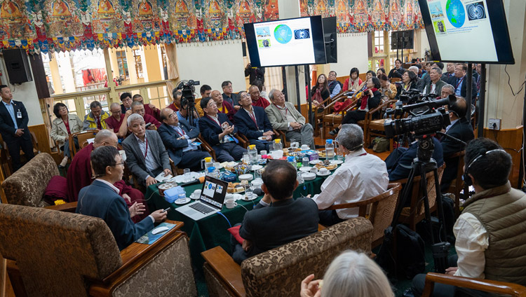 Dr Yueh-Nan Chen during his presentation entitled 'From Quantum Physics to Quantum Biology' on the first day of the dialogue with Chinese scientists about quantum effects in Dharamsala, HP, India on November 1, 2018. Photo by Ven Tenzin Jamphel
