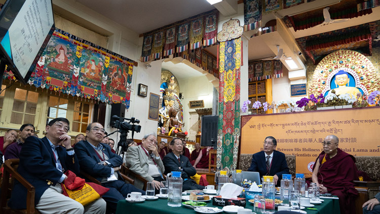 Prof Albert M Chang delivering his presentation on quantum transport on the second day of the Dialogue between His Holiness the Dalai Lama and Chinese Scientists on Quantum Effects at the Main Tibetan Temple in Dharamsala, HP, India on November 2, 2018. Photo by Ven Tenzin Jamphel