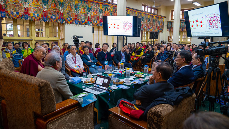 Prof Chung-Yuan Mou talking about water during his presentation on the second day of the Dialogue between His Holiness the Dalai Lama and Chinese Scientists on Quantum Effects at the Main Tibetan Temple in Dharamsala, HP, India on November 2, 2018. Photo by Ven Tenzin Jamphel
