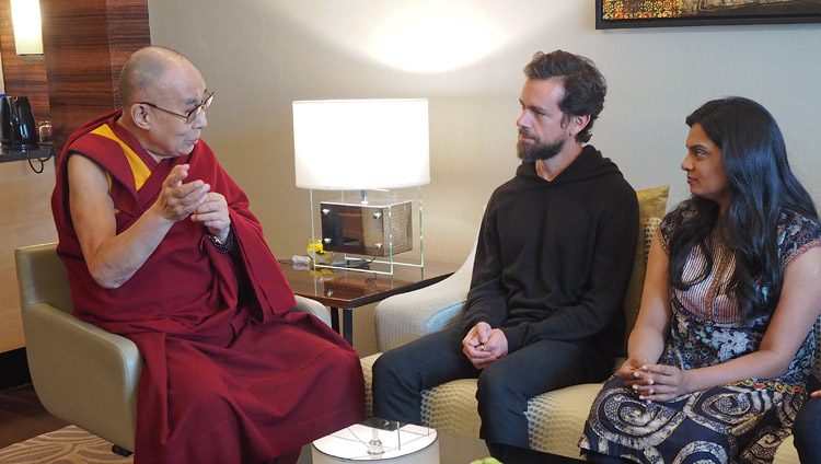 His Holiness the Dalai Lama and Jack Dorsey, the co-founder and CEO of Twitter, in New Delhi, India on November 10, 2018. Photo by Jeremy Russell