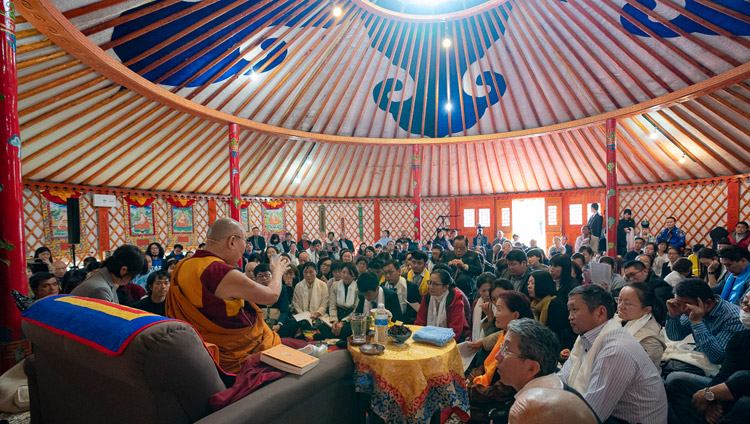 A view inside the Sherab Kyetsel Ling Institute temple that is in the form of a Mongolian tent during His Holiness the Dalai Lama's visit in Chiba, Japan on November 18, 2018. Photo by Tenzin Choejor