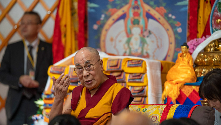 His Holiness the Dalai Lama addressing the gathering at the inauguration of Sherab Kyetsel Ling Institute in Chiba, Japan on November 18, 2018. Photo by Tenzin Choejor