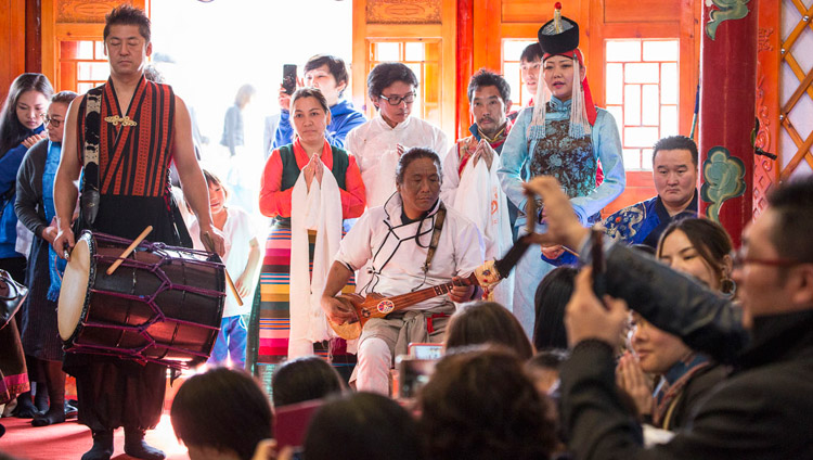 Tibetan and Mongolian musicians performing at the close of the Sherab Kyetsel Ling Institute inauguration ceremonies in Chiba, Japan on November 18, 2018. Photo by Tenzin Jigme