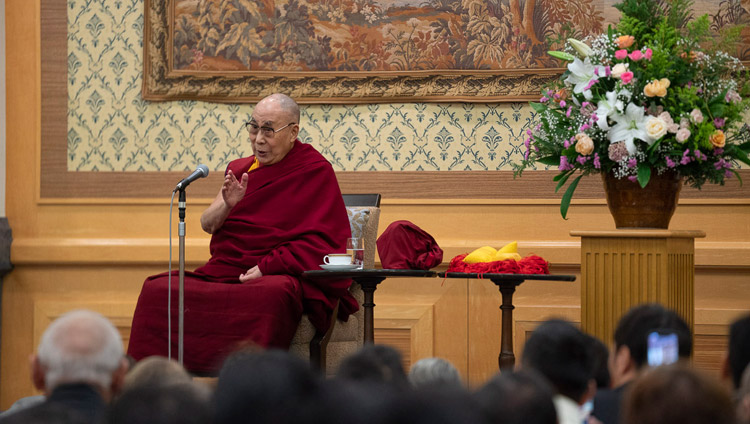 His Holiness the Dalai Lama speaking to over 300 Tibetans and Bhutanese in Tokyo, Japan on November 20, 2018. Photo by Tenzin Choejor