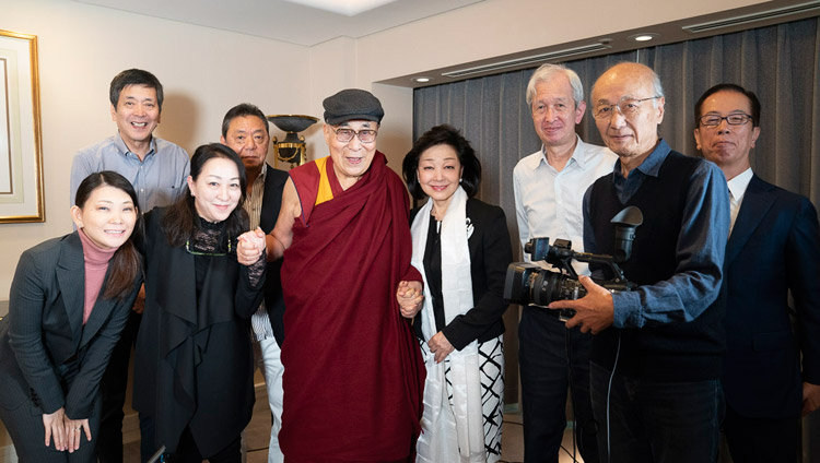 His Holiness the Dalai Lama poses for a photo with the members of the production team after his interview with Ms Yoshiko Sakurai, president of the Japan Institute of National Fundamentals, in Yokohama, Japan on November 13, 2018. Photo by Tenzin Choejor