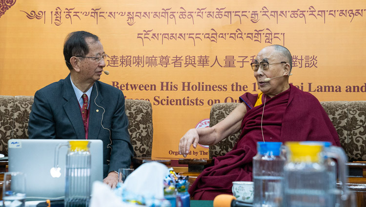 Prof Yuan Tseh Lee speaking about Challenges and Opportunities for a Sustainable Planet on the third day of discussions between Chinese scientists from Taiwan and the USA and His Holiness the Dalai Lama at the Main Tibetan Temple in Dharamsala, HP, India on November 3, 2018. Photo by Ven Tenzin Jamphel
