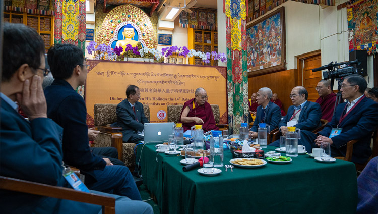 His Holiness the Dalai Lama answering questions from fellow panelists on the third day of the dialogue with Chinese Scientists about quantum effects at the Main Tibetan Temple in Dharamsala, HP, India on November 3, 2018. Photo by Ven Tenzin Jamphel