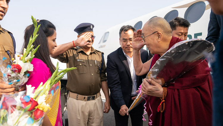 His Holiness the Dalai Lama arriving at the Farruukhabad airport near Sankisa, UP, India on December 2, 2018. Photo by Tenzin Choejor