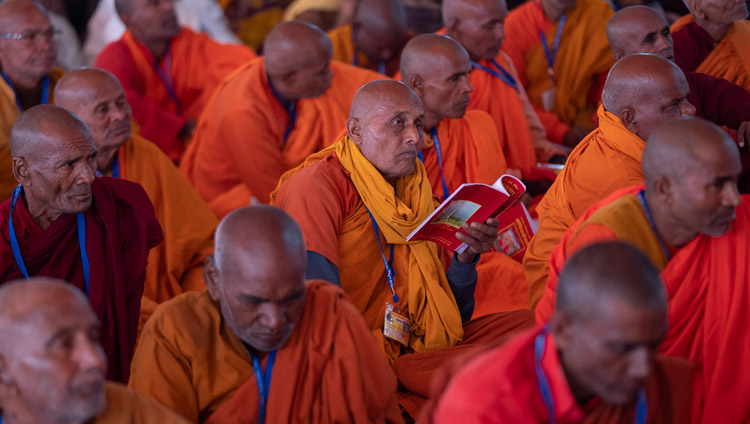 Members of the Indian Buddhist monastic community listening to His Holiness the Dalai Lama on the first day of his teaching in Sankisa, UP, India on December 3, 2018. Photo by Lobsang Tsering