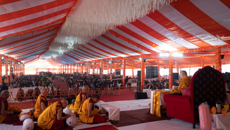 A view of the tent with over 15,000 people attending His Holiness the Dalai Lama's teaching at the Youth Buddhist Society of India ground in Sankisa, UP, India on December 3, 2018. Photo by Lobsang Tsering