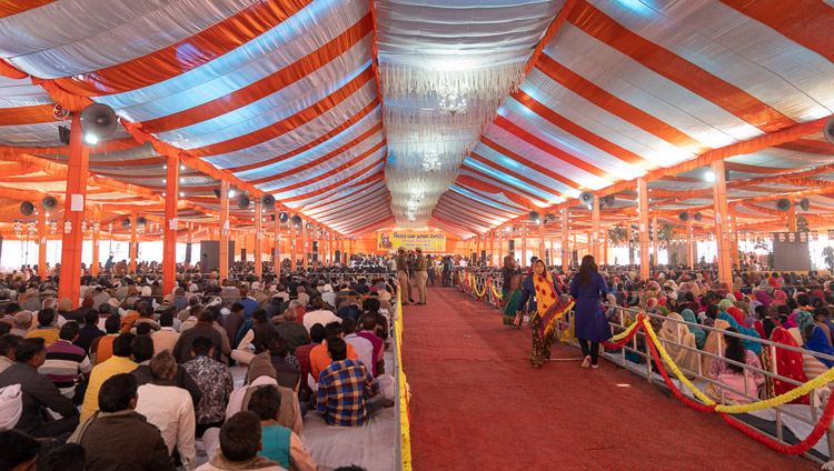 A view from the back of the covered area set up at the Youth Buddhist Society Ground on the final day of His Holiness the Dalai Lama's teaching in Sankisa, UP, India on December 5, 2018. Photo by Lobsang Tsering
