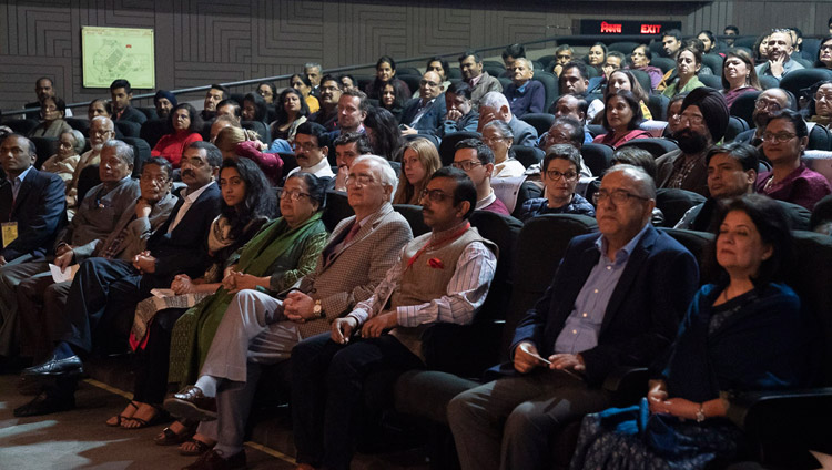 Many of the more than 350 invited guests listening to His Holiness the Dalai Lama's address at the 1st Yuvraj Krishan Memorial Lecture at Siri Fort Auditorium in New Delhi, India on December 8, 2018. Photo by Lobsang Tsering