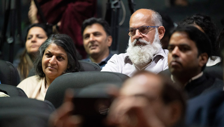 Members of the audience listening to His Holiness the Dalai Lama at 1st Yuvraj Krishan Memorial Lecture at Siri Fort Auditorium in New Delhi, India on December 8, 2018. Photo by Lobsang Tsering