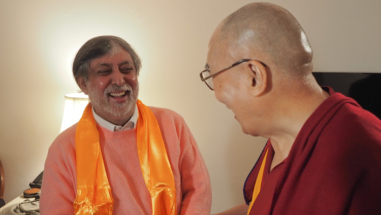 Award-winning film and documentary maker Ramesh Sharma and His Holiness the Dalai Lama after their interview in New Delhi, India on December 10, 2018. Photo by Jeremy Russell